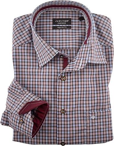 Jupiter Camisa XXL a Cuadros marrón-Azul-roja, 48-70:52: Amazon.es: Ropa y accesorios