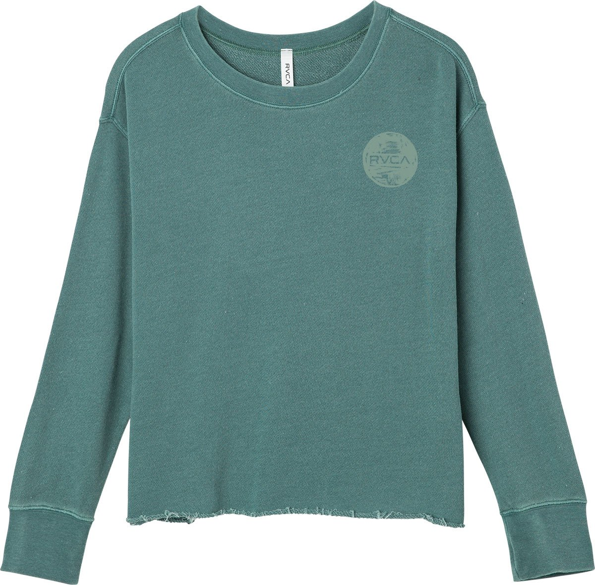 RVCA Junior's Brush Dot Crew Neck Sweatshirt, Silver/Green, M