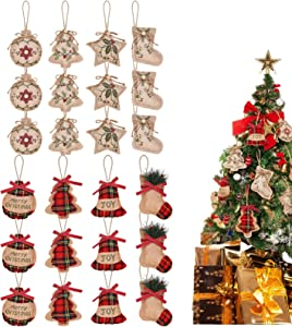 Virtue morals 24 Pieces Burlap Christmas Tree Ornaments Xmas Hanging Decoration Christmas Stocking Ball Tree Bell Star Shapes Christmas Ornaments for Christmas Holiday Party Décor