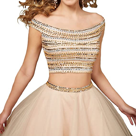 Fanciest Womens Beaded Two Pieces Short Homecoming Dresses 2017 Prom Gowns Champagne: Amazon.co.uk: Clothing