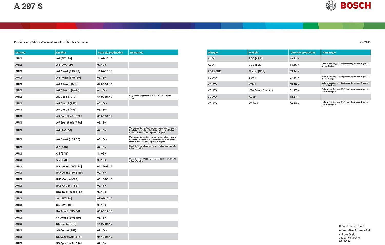 8U Q5 8R 2 YOU.S Essuie-Glace avant 600+500 mm Original Adaptateur
