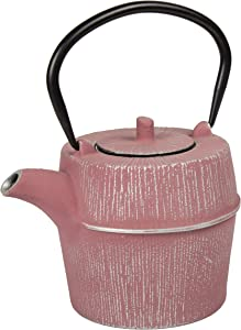 Creative Home Kyusu Cast Iron Pot Tea Kettle with Removable Stainless Steel Infuser Basket, 29 Ounce, Silver/Pink
