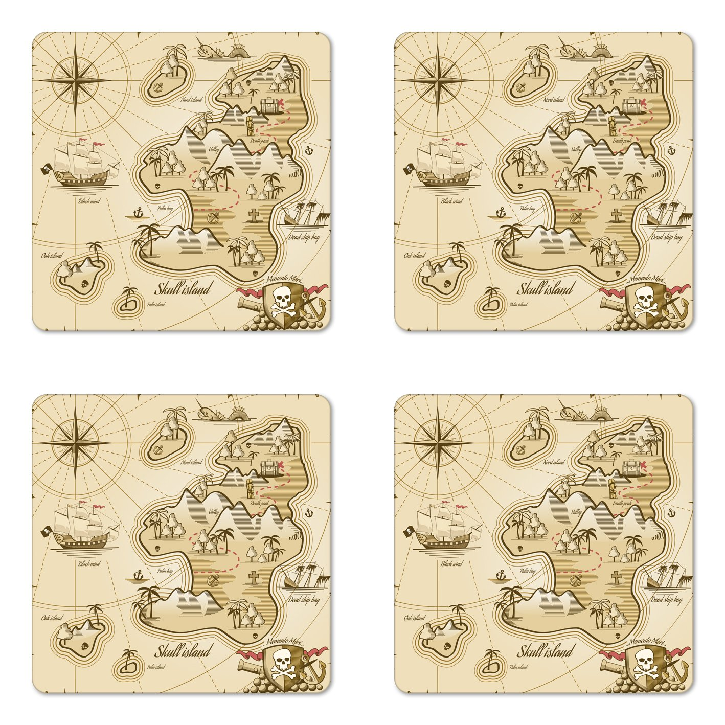 Lunarable Pirate Coaster Set of Four, Hand Drawn Map of Treasure Island Sea Adventure Ocean Navigation Compass, Square Hardboard Gloss Coasters for Drinks, Pale Brown Sand Brown