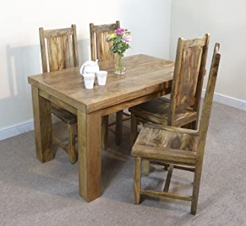Mercers Furniture Mantis Dining Table And 4 Chairs   Mangowood, 135 Cm