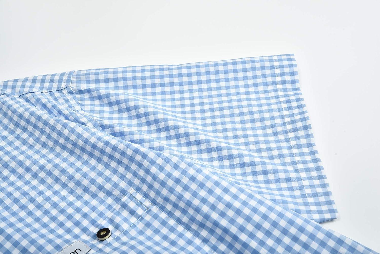 Leichtes Freizeithemd Pflegeleichtes Sommerhemd Wika Sen Trachten Herren Kurzarm Hemden aus 100/% Baumwolle Slim Fit Freizeithemd Kariertes M/ännerhemd