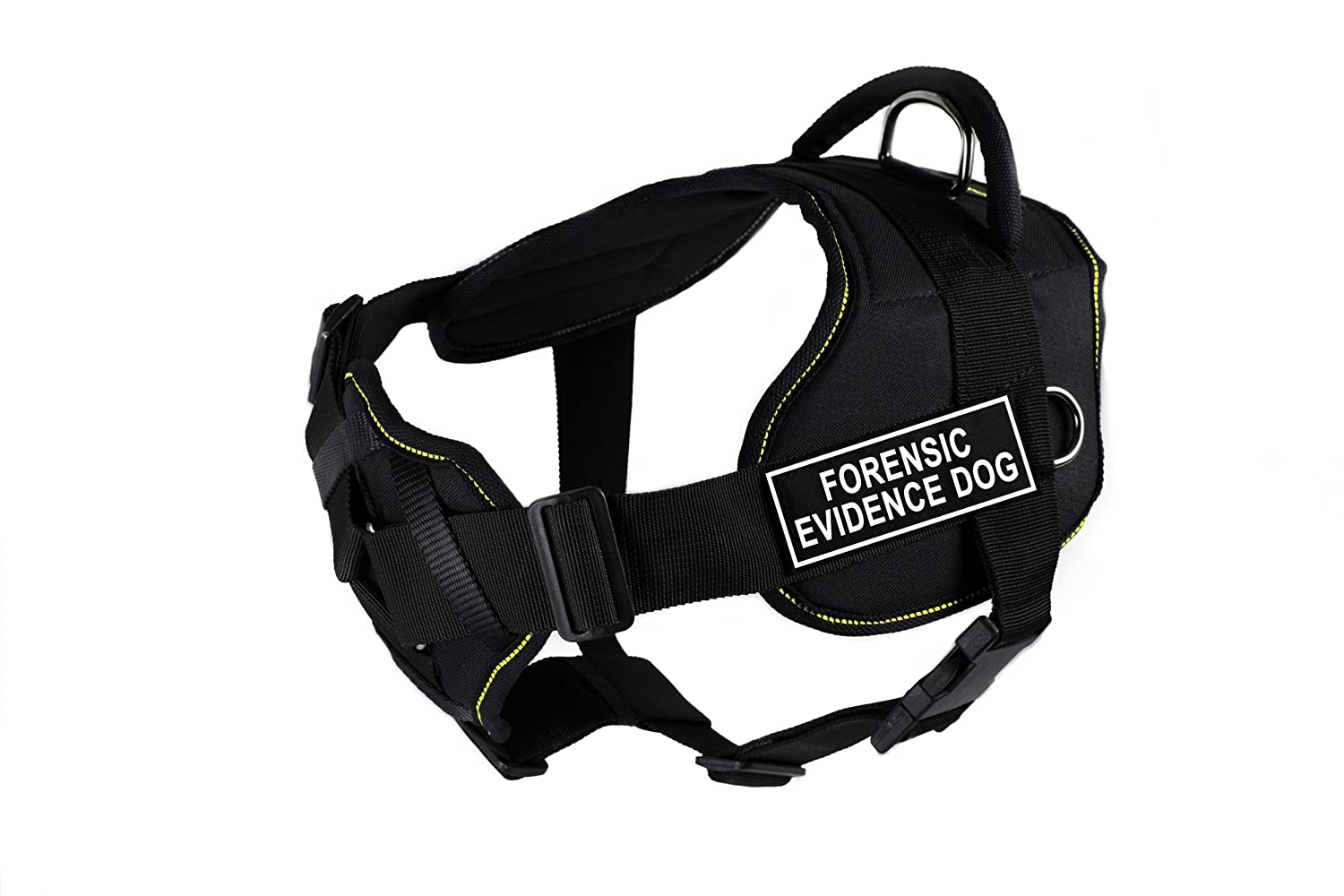 Dean & Tyler Fun Works Forensic Evidence Dog Harness with Padded Chest Piece, Small, Fits Girth Size  22-Inch to 27-Inch, Black with Yellow Trim
