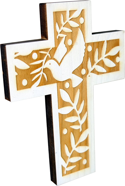 Wandkreuz en bois en design moderne croix avec dépôt au mariage communion