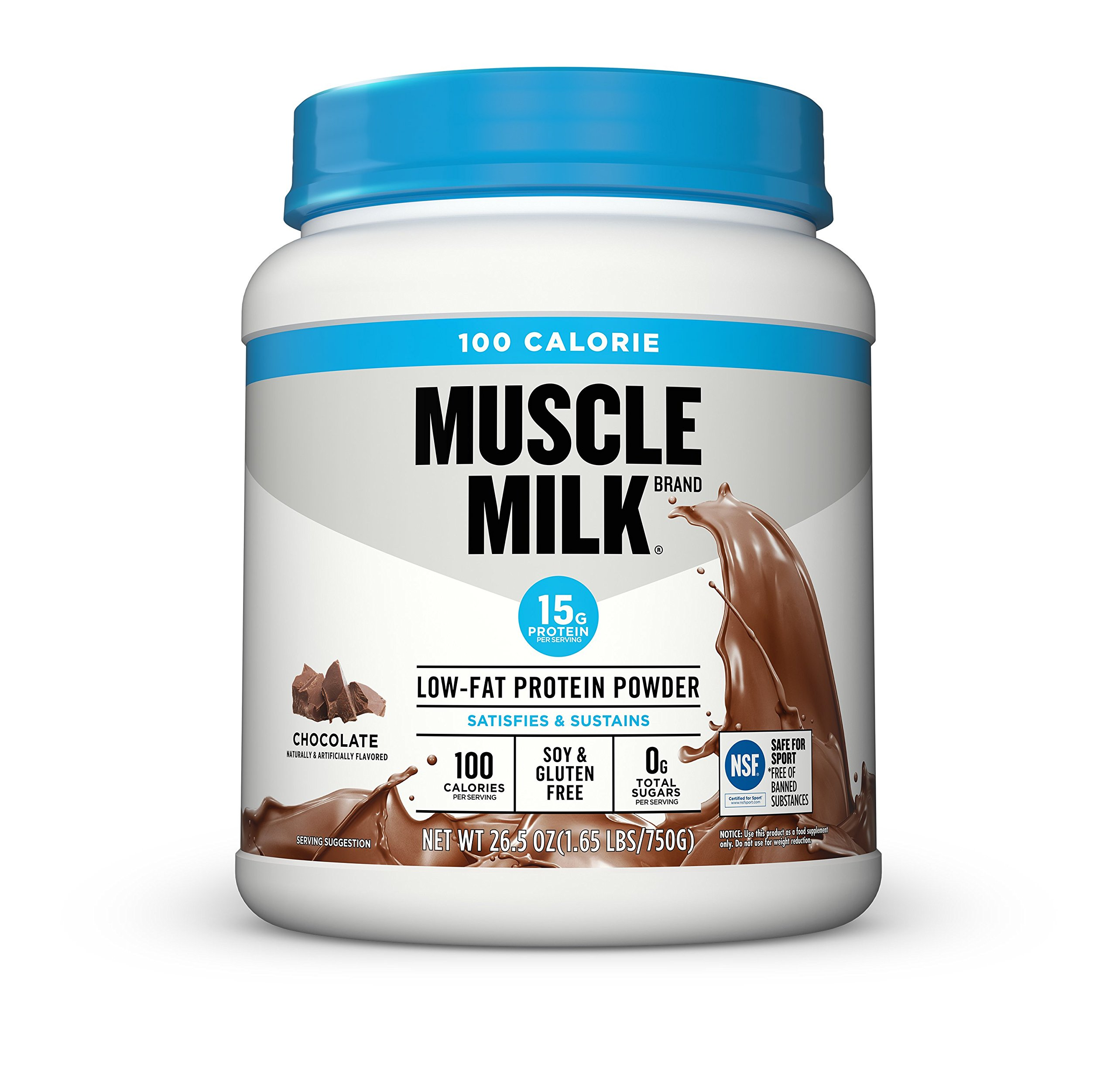 Muscle Milk 100 Calorie Protein Powder, Chocolate, 15g Protein, 1.65 Pound by Muscle Milk