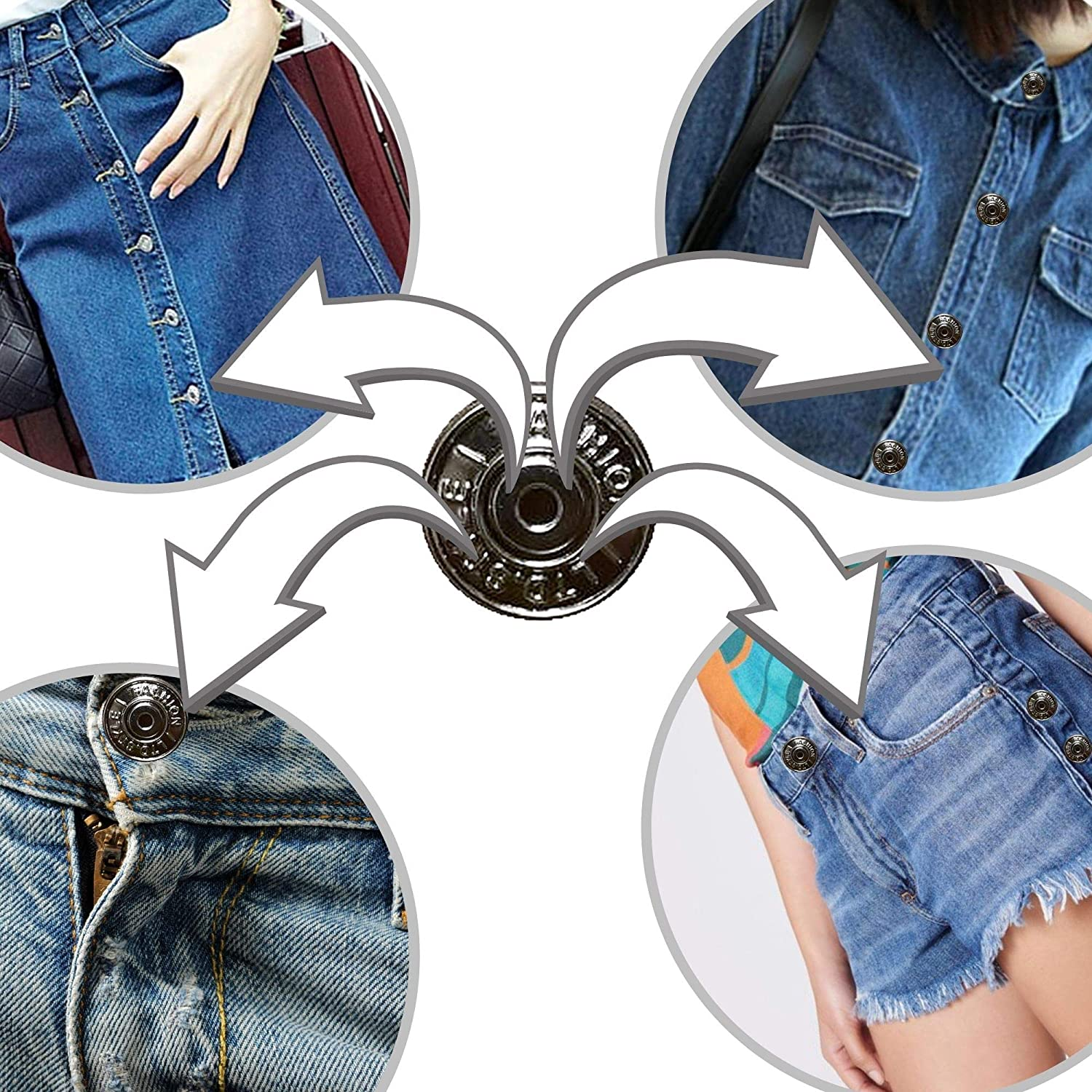 Jeans 12 Pieces Per Color Replacement Kit with Buttons /& Fasteners in Clear Plastic Storage Box for Denims 24 Sets Silver and Copper Jean Buttons and Jackets Repair