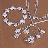 joyliveCY-conjunto de joyas: collar, pulsera, anillo y pendientes para mujer, chapados en plata de ley 925, elegante, dise?o de rosas
