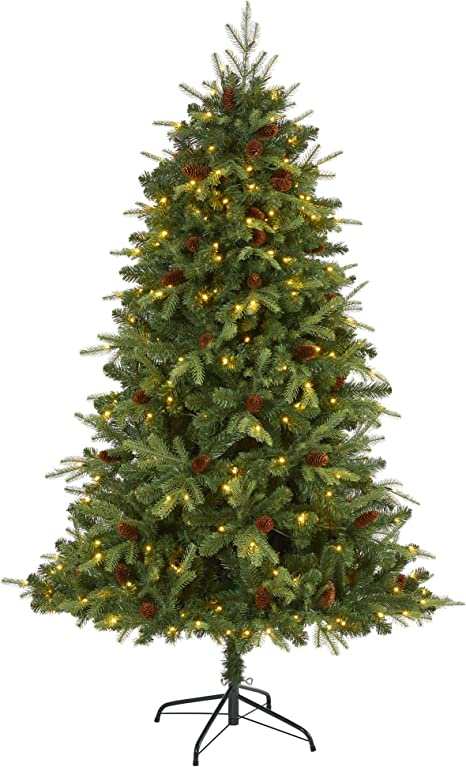 Nearly Natural 6ft Wellington Spruce Natural Look Artificial Christmas Tree With 300 Clear Led Lights And Pine Cones Green Home Kitchen