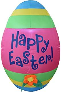 4 Foot Tall Inflatable Party Cute Colorful Easter Egg With Flower   Yard  Blow Up Decoration