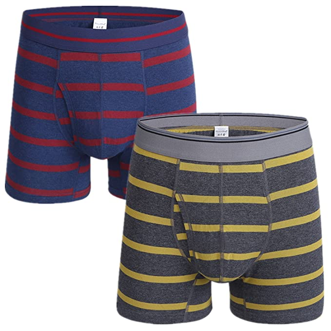 AiJump Pack de 2 Calzoncillos Trunks Bóxer Briefs para Hombre Ropa Interior Boxer Shorts Transpirable de