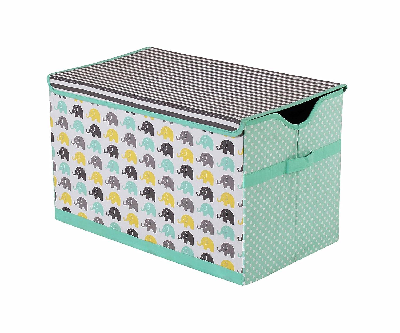 Bacati Elephants Unisex Fabric Storage Toy Chest to Keep Your Childs Room Organized, Mint/Yellow/Grey (EMYGSTC)