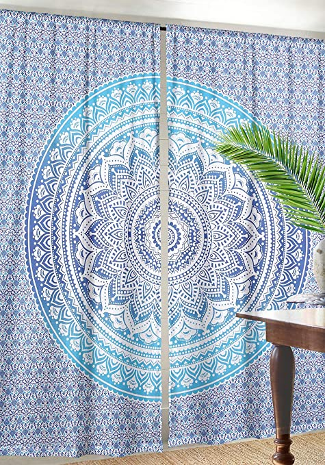 Gold Flower ombre Mandala Bohemain Bedding boho Hippie Mandala Window Tapestry Curtain Set Dorm Decor Curtain Window Drape Valance Curtain