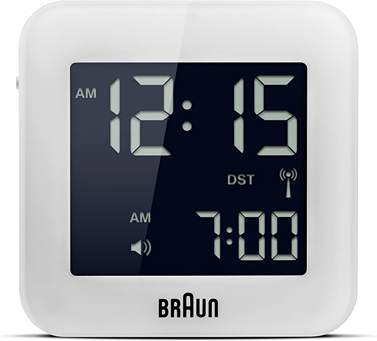 Braun - Reloj despertador digital de viaje, color blanco