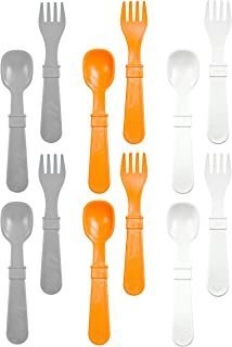 product image for RE-PLAY Made in The USA 12pk Fork and Spoon Utensil Set for Easy Baby, Toddler, and Child Feeding in Grey, Orange and White | Made from Eco Friendly Heavyweight Recycled Milk Jugs | (Modern Orange)