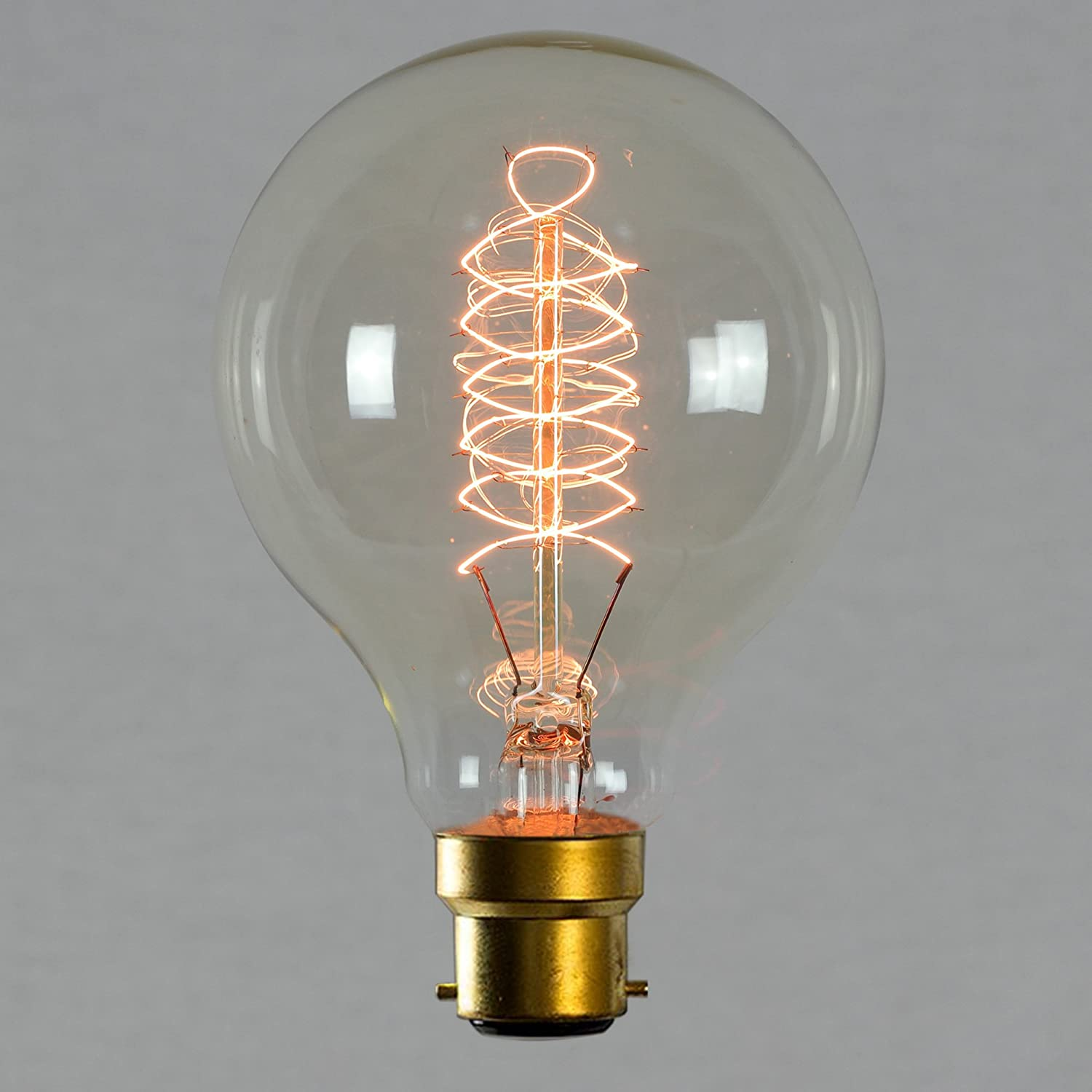 Vintage Edison Light Bulb 60w - Spiral Globe 80mm B22 BC Dimmable - The Retro Boutique ®