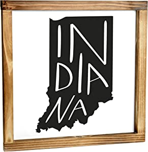 Indiana Sign - Rustic Farmhouse Decor For The Home - Indiana State Sign, Modern Farmhouse State Gift, Indiana Wall Decor, State Souvenir, Rustic Home Decor Sign With Solid Wood Frame 12x12 Inch