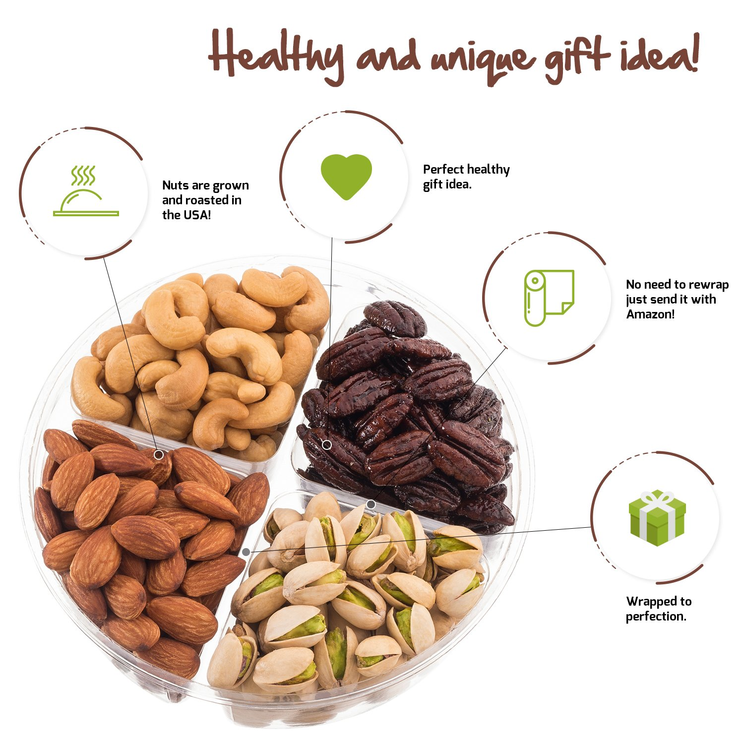 Nut Cravings Father's Day Gift Baskets - 4-Sectional Gourmet Mixed Nuts Prime Food Gift Tray - Healthy Holiday Gift Assortment For Birthday - Sympathy - Get Well - Corporate Gift Box - Or Any Occasion by Nut Cravings (Image #4)