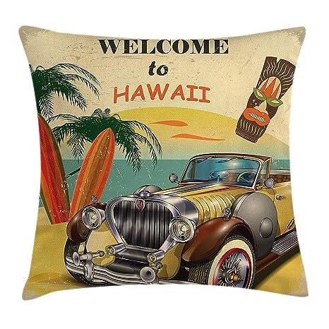 Funda de cojín vintage de estilo retro de Hawaii, estilo retro ...