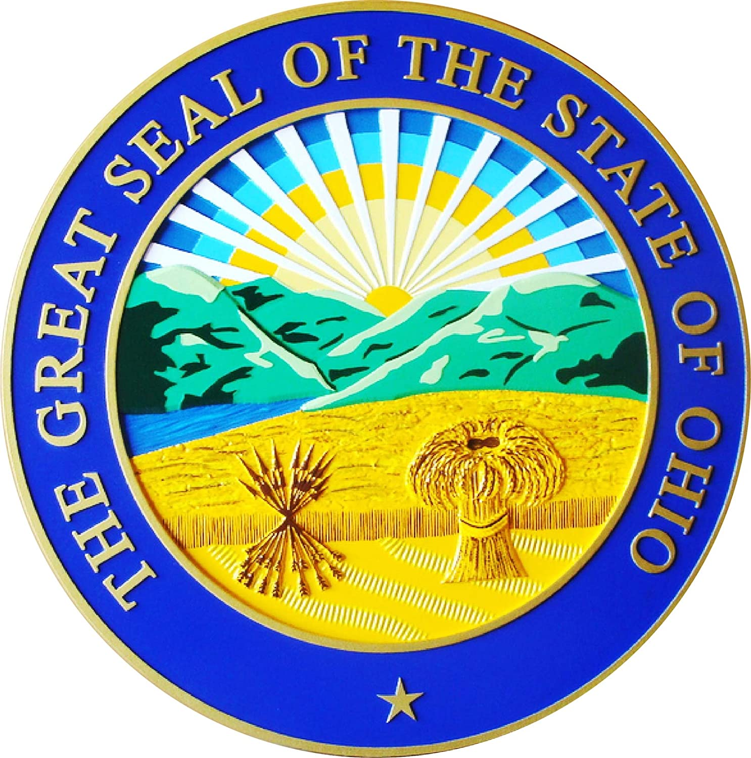 Wall Plaque of The Great Seal of The State of Ohio, Official Colors
