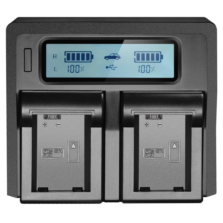Neewer LCD Battery Charger for Sony NP-FW50 Batteries Compatible with Sony NEX-3 NEX-5 NEX-6 NEX-7 NEX-C3 NEX-F3 SLT-A33 SLT-A37 SLT-A55 US Plug + EU Plug + Car Charger Adapter