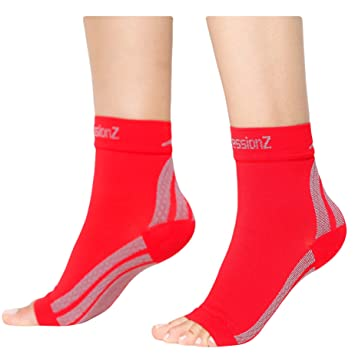 CompressionZ Plantar Fasciitis Socks - Compression Foot Sleeves - Ankle Brace w/Arch Support -