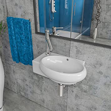 Keramik Waschbecken Waschtisch Waschschale Aufsatzwaschbecken Gaste Wc Wandhangend Armaturloch Links Oder Rechts Kbw185 Armaturloch Link Amazon De Baumarkt