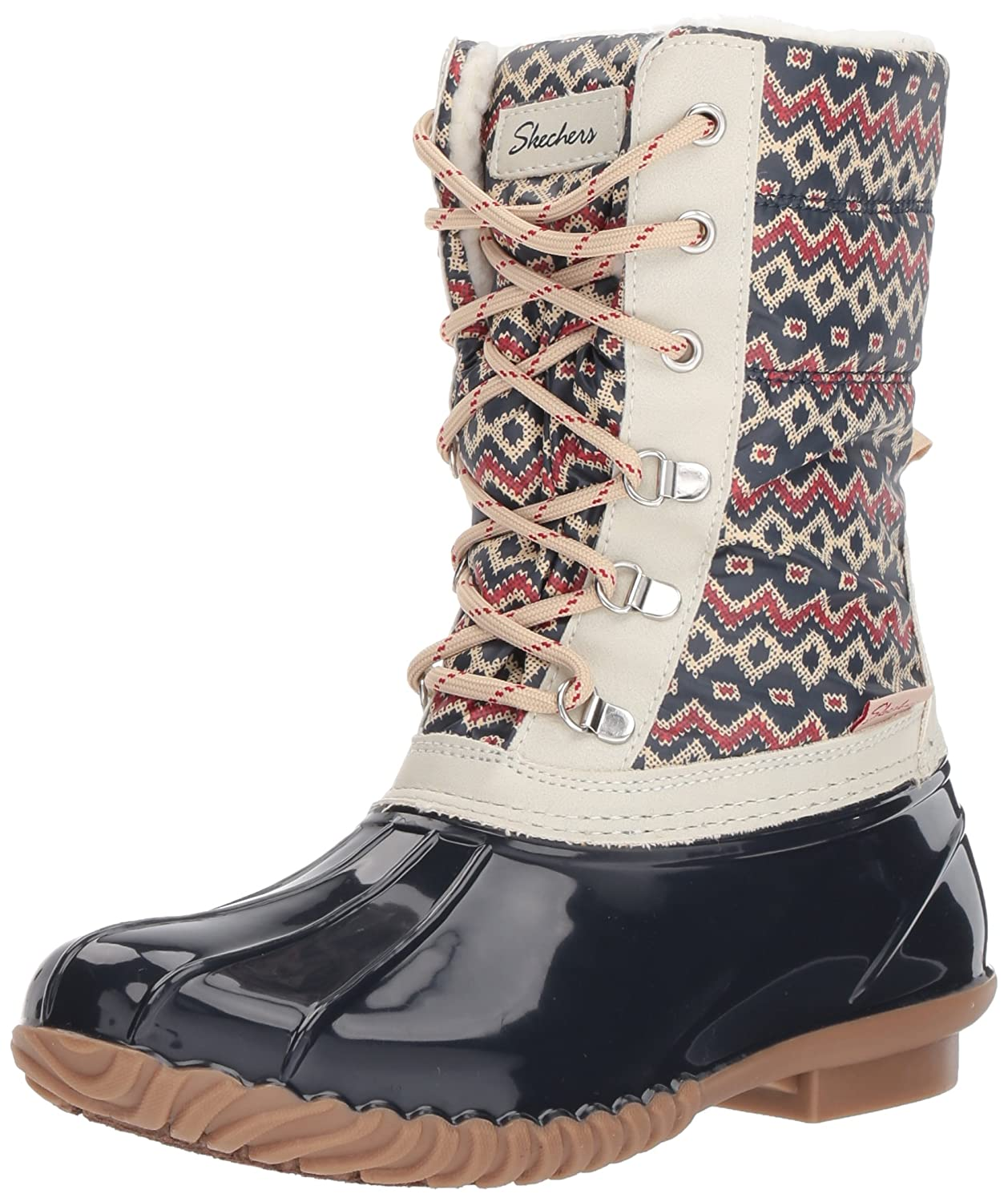 Skechers Women's Hampshire-Printed Quilted Snow Boot B071F43KV1 6 M US|Navy Natural