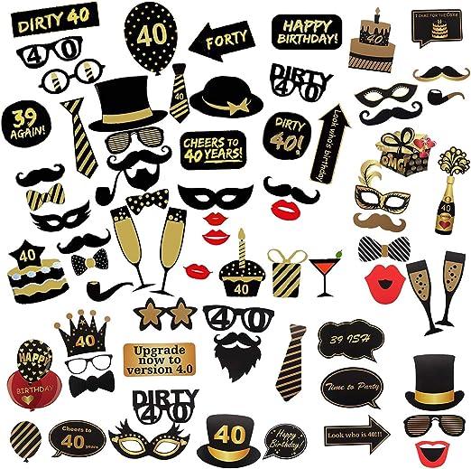 Comius Sharp 69 Piezas 40 Cumpleaños Foto Props, Feliz Cumpleaños ...