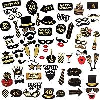 Comius Sharp 69 Piezas 40 Cumpleaños Foto Props, Feliz Cumpleaños Accesorios Fiesta Suministros, Photocall DIY Photo…