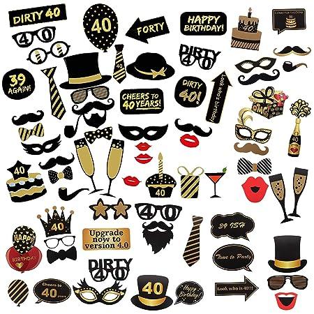 Comius Sharp 69 Piezas 40 Cumpleaños Foto Props, Feliz Cumpleaños Accesorios Fiesta Suministros, Photocall DIY Photo Booth Atrezzo Favorecer ...