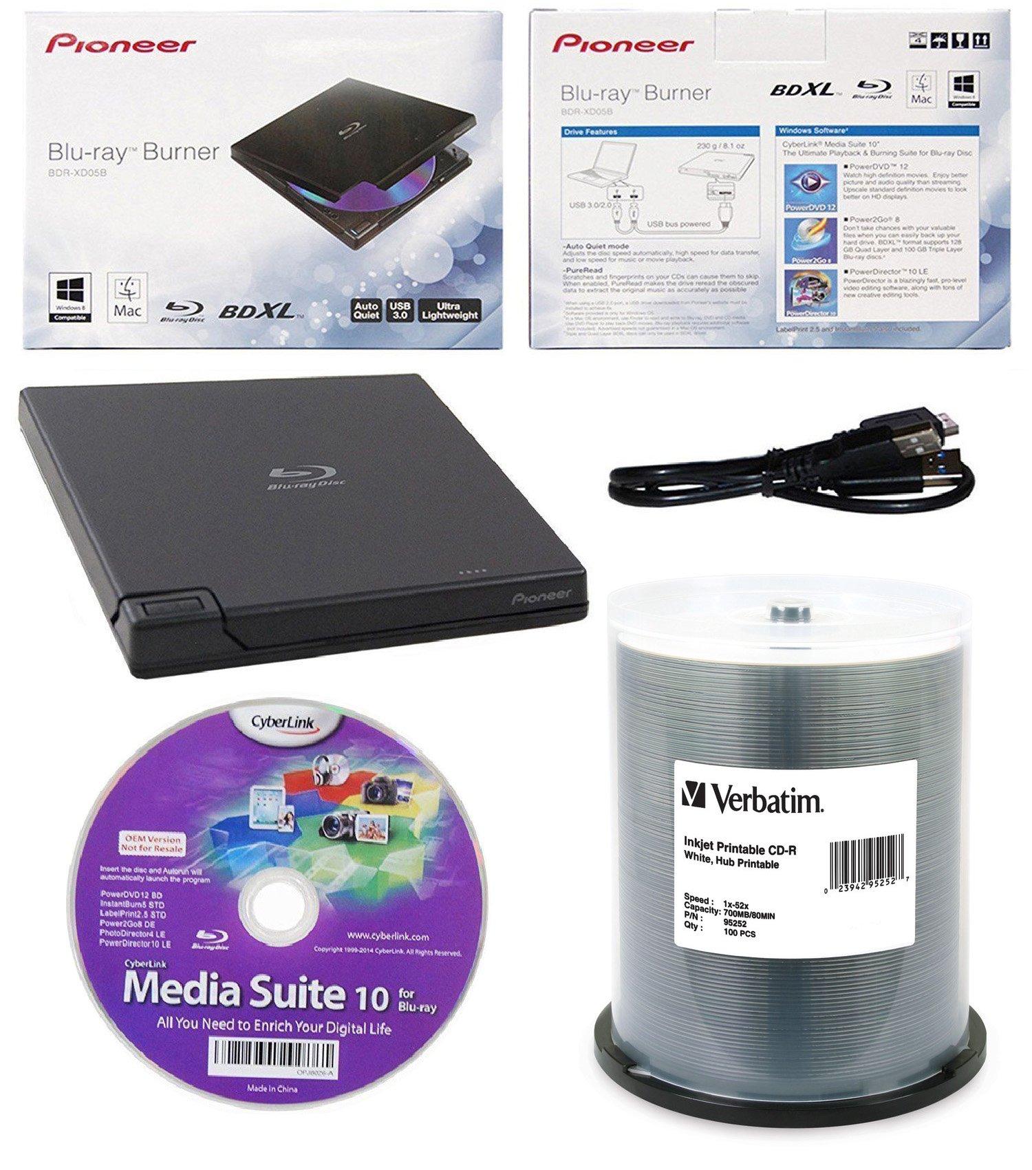 Pioneer 6x BDR-XD05B Ultra Lightweight External Blu-ray BDXL Burner, Cyberlink Software and USB Cable Bundle with 100pk CD-R Verbatim 700MB 52X DataLifePlus White Inkjet, Hub Printable