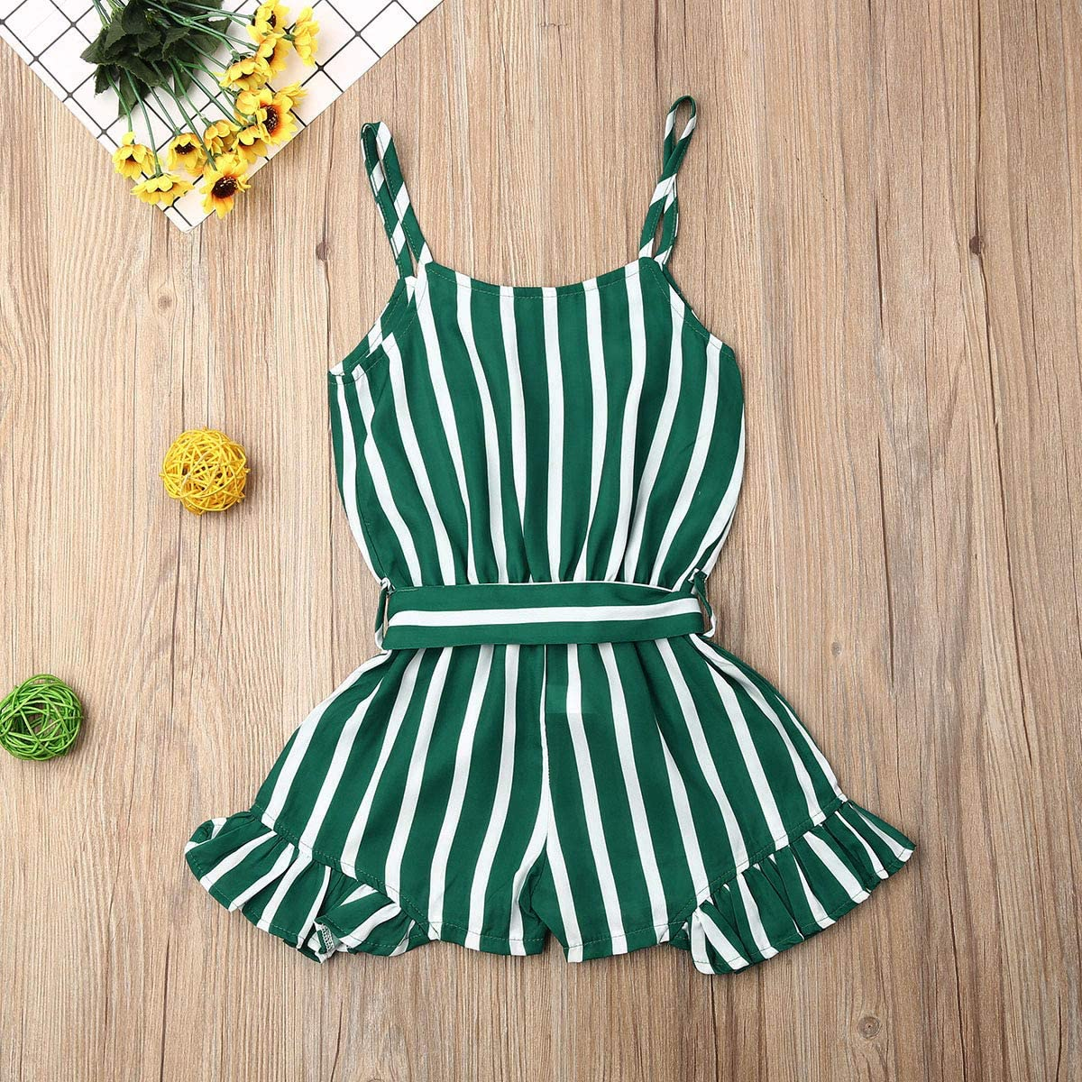 Harvest8 Kids Baby Girls Striped Strap Romper Ruffles Sleeveless Chiffon Jumpsuit Summer Clothes Outfits