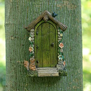 Fairy Garden Accessories Outdoor Miniature Supplies Tree Faces Decor Outdoors Fairy Door Tree Huggers Decorations Yard Art Squirrel Bird Gnomes Statues Clearance Sculpture Outsides Sculpture Gifts