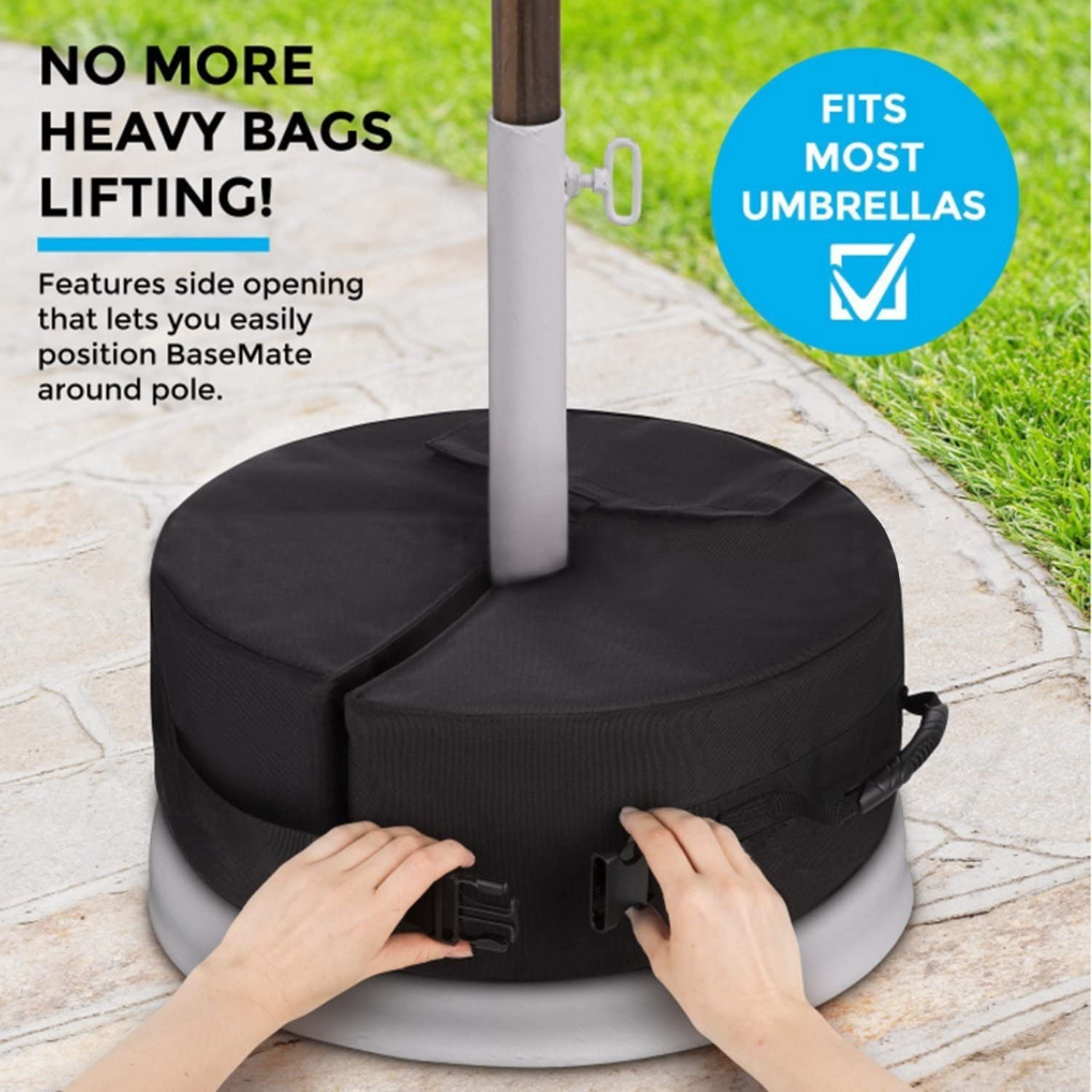 Square Cantilever or Standard Outdoor Patio Umbrella or Flagpole 18 Square with Large Opening and 2 Handle for Offset Detachable Patio Umbrella Base Weight Bag Heavy Duty Weather Resistant