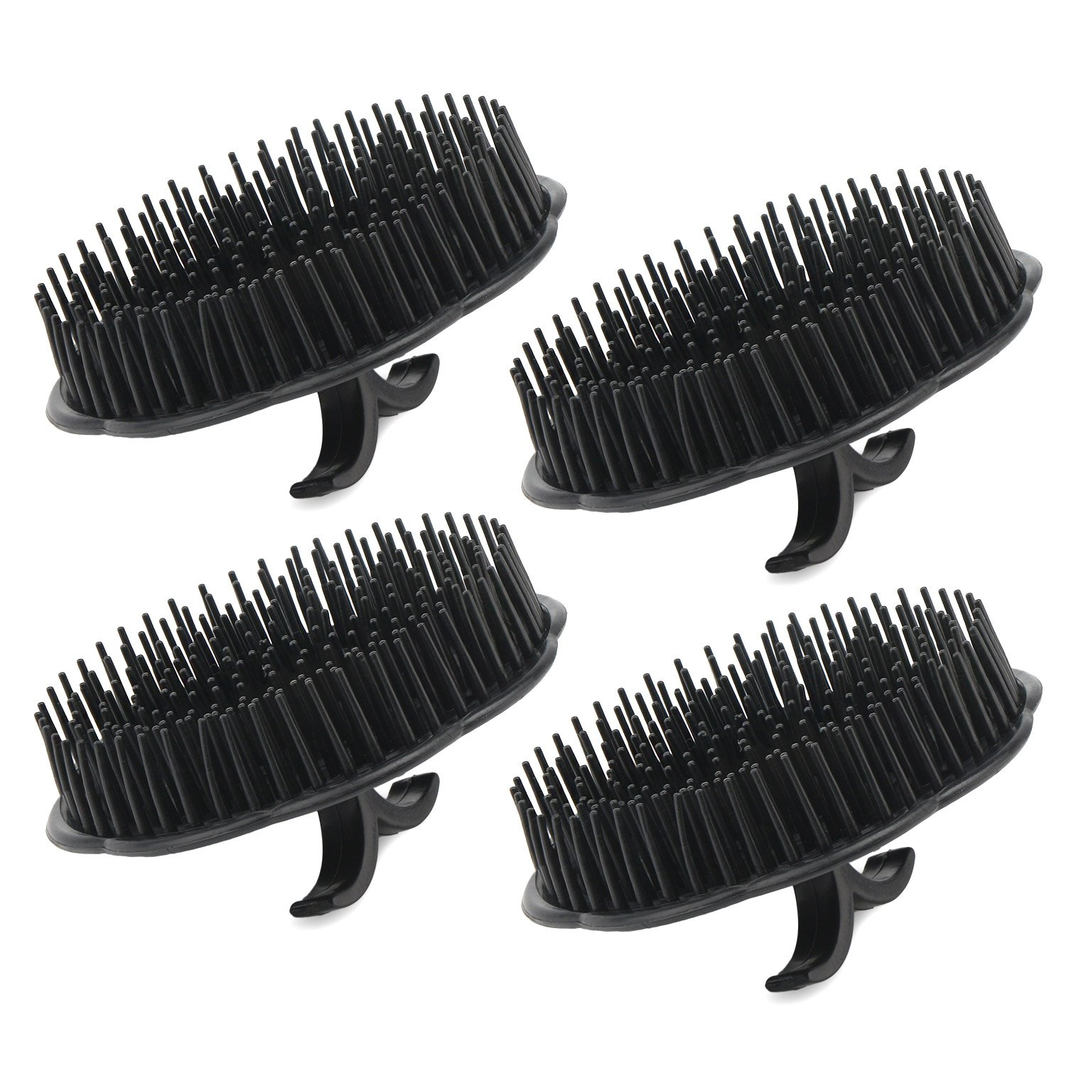 4pcs Segbeauty Scalp Massager Shampoo Brush, Shampoo Massage Brush Floriated Shower Comb, Scalp Massager for Hair Growth Beard Brush Pet Grooming Brushes - Black