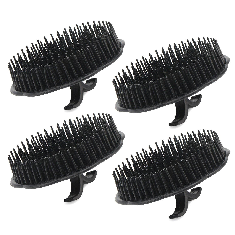 Segbeauty Scalp Massager Shampoo Brush, 4pcs Shampoo Massage Brush Floriated Shower Comb, Scalp Massager for Hair Growth Beard Brush Pet Grooming Brushes - Black