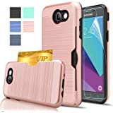 Samsung Galaxy J3 Emerge Case, Galaxy J3 Prime Case, Galaxy Amp Prime 2 /Eclipse/J3 Luna Pro/Sol 2/Express Prime 2 Case With HD Film,AnoKe[Card Slots Holder]Plastic TPU Case For J3 2017 KC2 Rose Gold