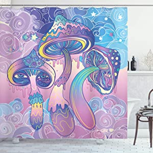 Ambesonne Mushroom Shower Curtain, Trippy Drawing Hippie Design Sixties Visionary Psychedelic Shamanic, Cloth Fabric Bathroom Decor Set with Hooks, 70
