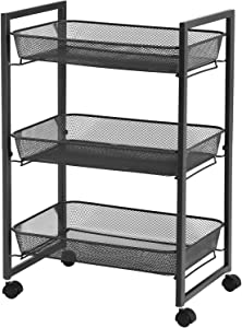 SONGMICS Rolling Cart, 3-Tier Serving Trolley with Wire Baskets, Space Saving, Easy Assembly, for Kitchen, Bathroom, Living Room, Black UBSC061B01
