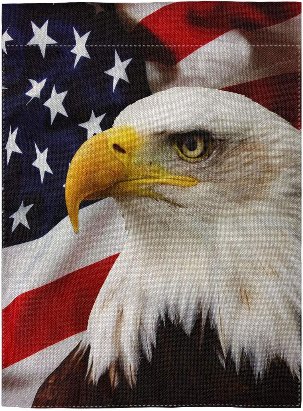 Amazon Com Pingpi Eagle On American Flag Double Sided Burlap Garden Flag 12 5 X18 Garden Outdoor