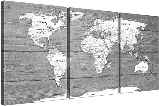Grande blanco y negro mapa del mundo Atlas – lienzo pared Art print – Multi set de 3 – 3315 Wallfillers: Amazon.es: Hogar