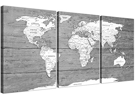 Wallfillers Large Black White Map of World Atlas - Canvas Wall Art ...