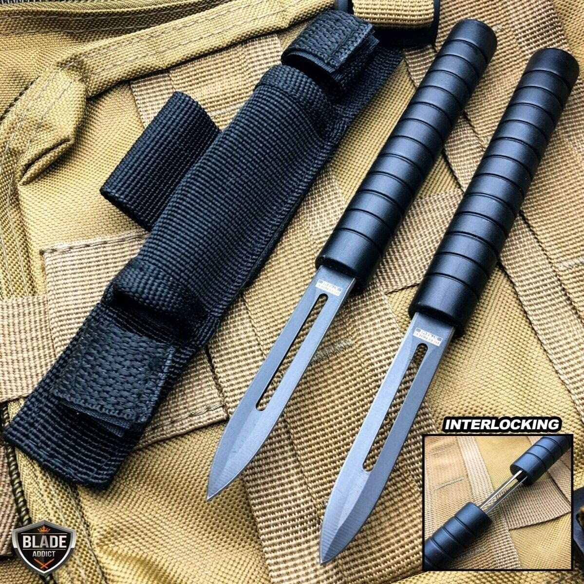 "7.5"" Interlocking Ninja Dual Blade Tactical Throwing Hunting Knife w/Sheath"