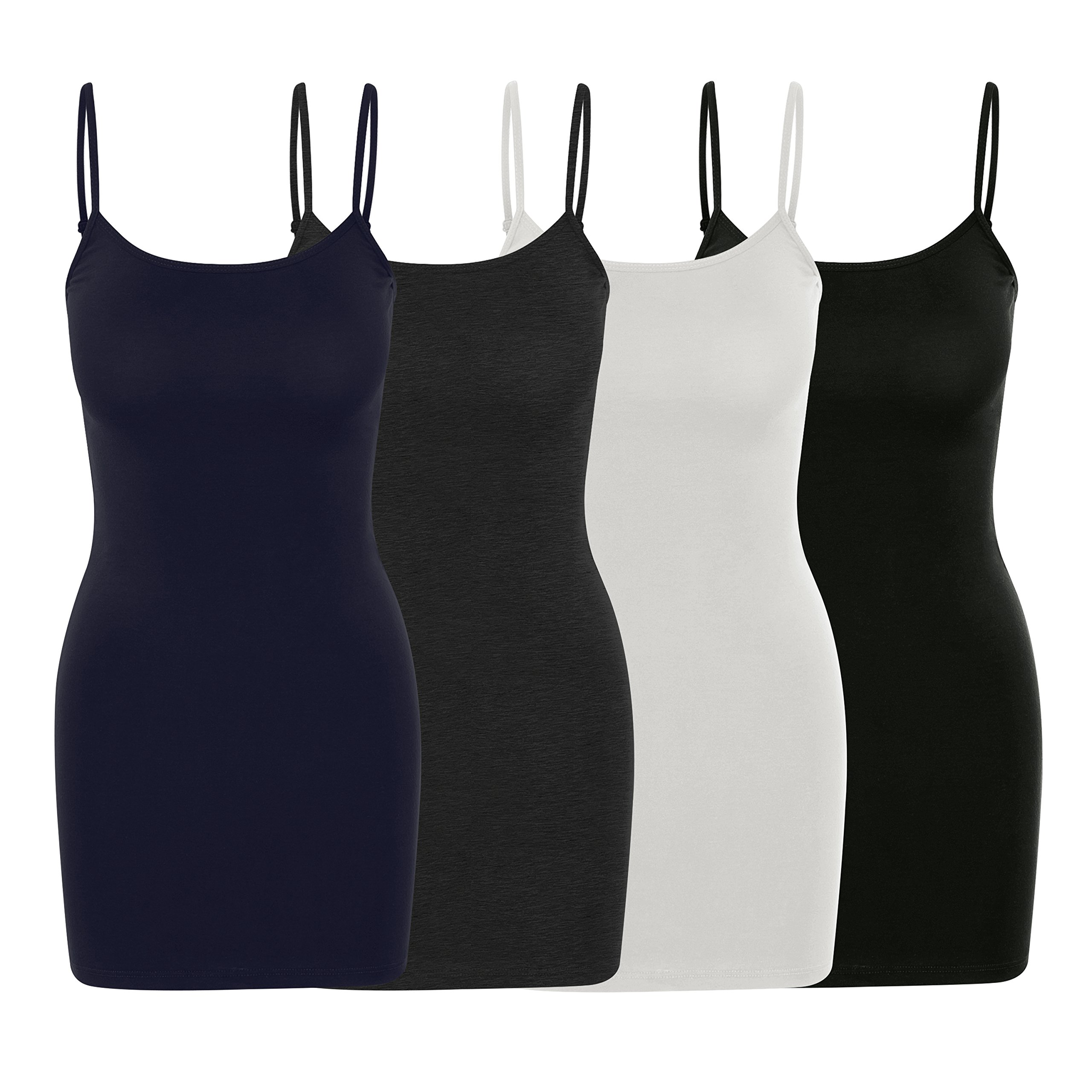 Nolabel [WT354 4 Pack Women's Multi Color Basic Active Long Length Adjustable Spaghetti Strap Cami Tank Top [NY/CH/BK/WH] 3XL