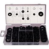 RAM-PRO 180 Piece Rubber Grommet eyelet Ring Gasket Assortment, Set of 8 different sizes, with See-through Divided Organizer Case – Ideal for Automotive, Plumbing, and PC hardware/Piano repair etc.