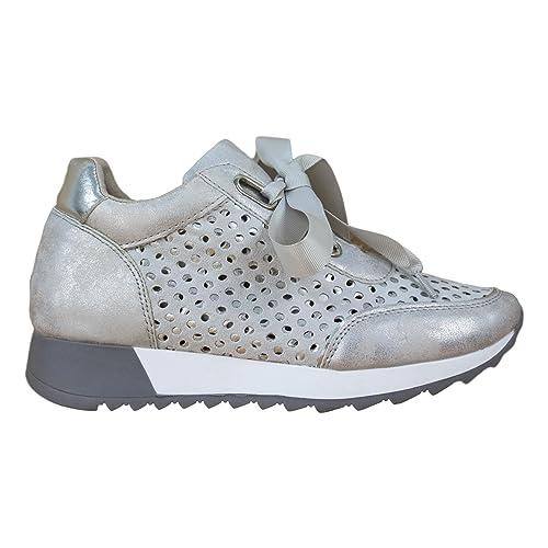 Deportivo Calado Metalizado con Cremallera. Cordones y cuña Interior. Altura de la cuña 2.5 cm.: Amazon.es: Zapatos y complementos