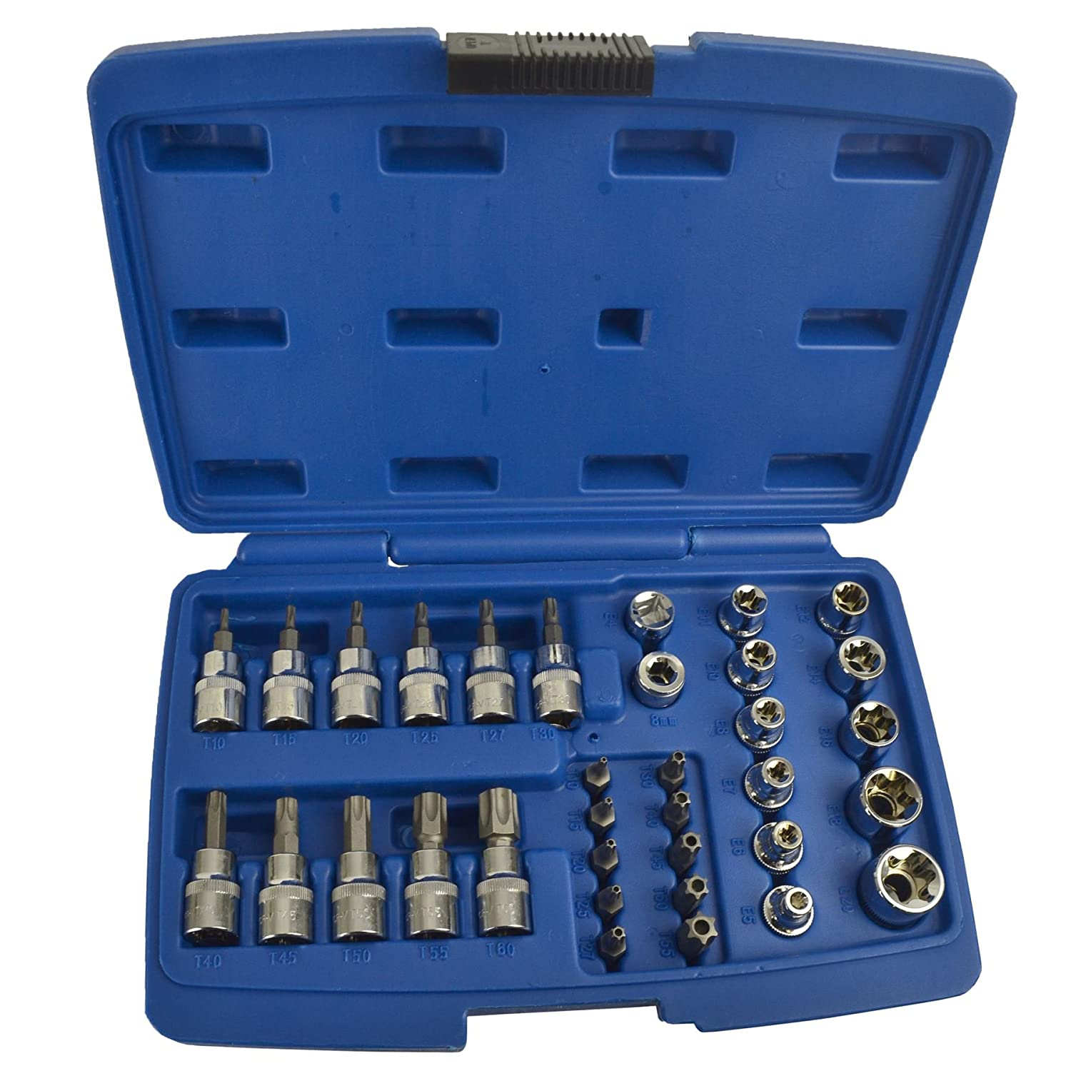 Male / Female / Torx / Star / Tamperproof E Type Sockets 3/8' Drive 34pcs AT447 AB Tools